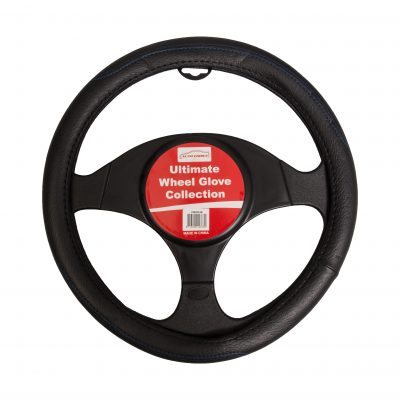 Auto Choice Direct - Steering Wheel Covers - Black Steering Wheel Cover - Blue Stitching - Car Accessories UK