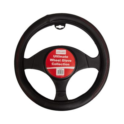 Auto Choice Direct - Black Steering Wheel Cover - Red Stitching - Car Accessories UK