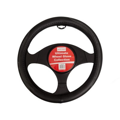 Auto Choice Direct - Steering Wheel Covers - Black Steering Wheel Cover - White Stitching - Car Accessories UK