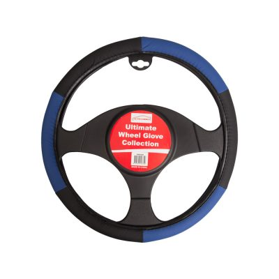 Auto Choice Direct - Steering Wheel Covers - Black / Blue Steering Wheel Cover - Car Accessories UK