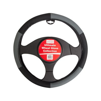 Auto Choice Direct - Steering Wheel Covers - Black / Grey Steering Wheel Cover - Car Accessories UK
