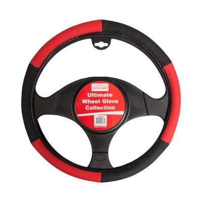 Auto Choice Direct - Steering Wheel Covers - Black / Red Steering Wheel Cover - Car Accessories UK