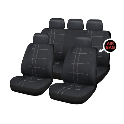 Auto Choice Direct - Seat Covers - 9pc Grey Check Seat Cover Set - Car Accessories UK