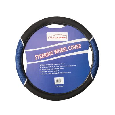 Auto Choice Direct - Steering Wheel Covers - Blue / Black Steering Wheel Cover - Car Accessories UK