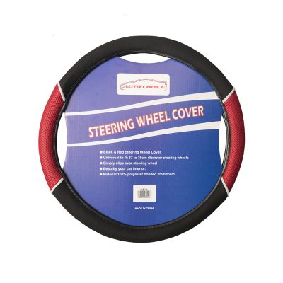 Auto Choice Direct - Steering Wheel Covers - Red / Black Steering Wheel Cover - Car Accessories UK