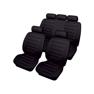 Auto Choice Direct - Seat Covers - 8pc Quilted PU Leather Seat Cover Set - Car Accessories UK
