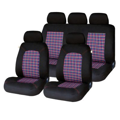 Auto Choice Direct - Seat Covers - 9pc Check Seat Cover Set - Car Accessories UK