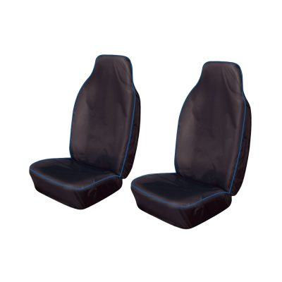 Auto Choice Direct - Premium Series - Pair of Large Heavy Duty Seat Covers - Blue Stripe - Car Accessories UK