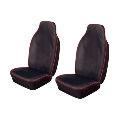 Auto Choice Direct - Premium Series - Pair of Large Heavy Duty Seat Covers - Red Stripe - Car Accessories UK