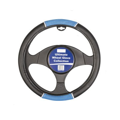 Auto Choice Direct - Steering Wheel Covers - Blue / Black Perforated Leather Look Steering Wheel Cover - Car Accessories UK