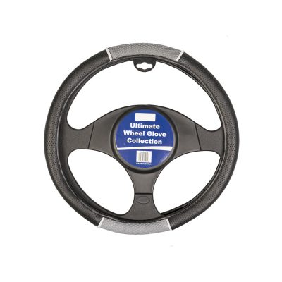 Auto Choice Direct - Steering Wheel Covers - Grey / Black Perforated Leather Look Steering Wheel Cover - Car Accessories UK