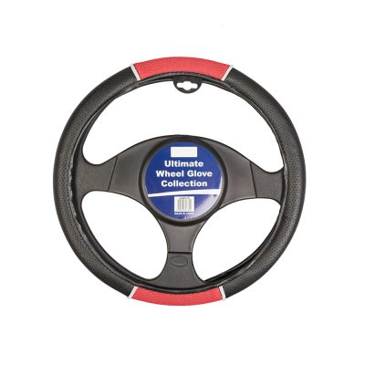 Auto Choice Direct - Steering Wheel Covers - Red / Black Perforated Leather Look Steering Wheel Cover - Car Accessories UK