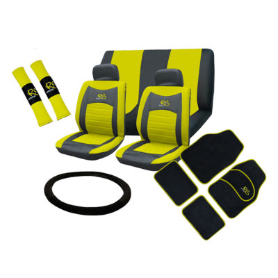 Auto Choice Direct - 15pc Yellow RS Seat Cover Set - Car Accessories UK